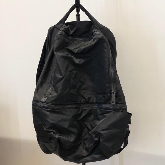 lululemon athletica Handbags - Lululemon black nylon backpack, 70987